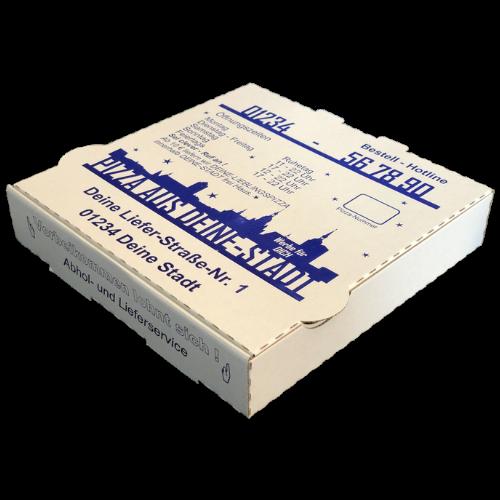 Pizzakartons mit Werbeaufdruck auf der Außenseite